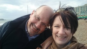 with hubby on Brighton Beach